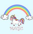 cute rainbow and cartoon walking unicorn vector image