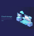 data center with digital devices concept cloud vector image vector image