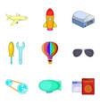 dirigible icons set cartoon style vector image vector image