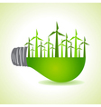 Eco light bulb with windmills stock vector image