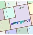 emergency word on keyboard key notebook computer vector image vector image