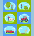 farmer working on farm with machinery and tools vector image vector image