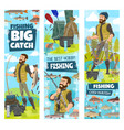 fishing and fisher man fish catch in net banners vector image vector image