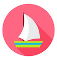 Flat Sea Ship Circle Icon with Long Shadow vector image