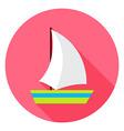 Flat Sea Ship Circle Icon with Long Shadow vector image vector image
