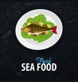 fresh sea food fish dish banner with hand-draw vector image