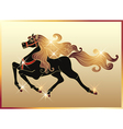 galloping black horse vector image