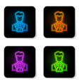 glowing neon scientist and test tube icon vector image
