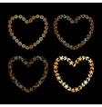 Golden floral heart frame vector image vector image
