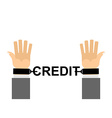 Hands shackled with chains credit Financial vector image