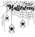 happy halloween silhouette spiders and web vector image