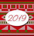 happy new year 2019 card sweater pattern design vector image