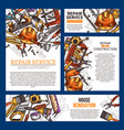 house repair and renovation banner with tool vector image vector image