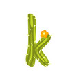 k letter in the form of cactus with blooming vector image