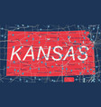 kanzas state detailed editable map vector image vector image