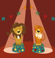 lion and tiger in circus vector image vector image