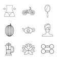 lose weight icons set outline style vector image vector image