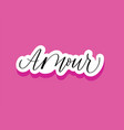 love in french modern calligraphy word on pink vector image vector image
