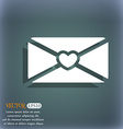 love letter icon On the blue-green abstract vector image vector image