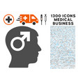 male symbol head icon with 1300 medical business vector image vector image