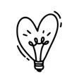 monoline cute lamp in form of heart vector image