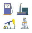 oil industry icon set in flat style vector image
