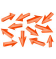 orange 3d arrows set of shiny straight signs vector image