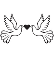 pair doves with heart vector image vector image