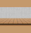 realistic brown wood table empty top vector image