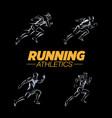 running logo templates set vector image