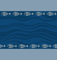 seamless horizontal border pattern with fishes vector image