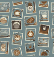 seamless pattern with postage stamps coffee theme vector image vector image
