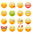 set of 3d cute emoticons emoji and smile icons vector image vector image