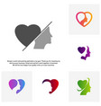 set of head love logo head intelligence logo vector image