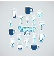 Set of stemware icon stickers vector image