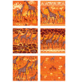 set seamless patterns with stylized giraffes vector image vector image