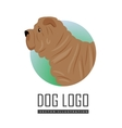 Shar Pei Dog Logo on White Background vector image