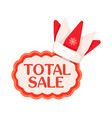 total sale tag with crown in santa claus style vector image