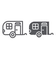trailer line and glyph icon car and travel vector image vector image
