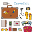 travel kit with important things vector image