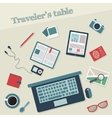 Travelers table with icons vector image vector image