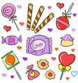 various candy hand draw doodle style vector image vector image