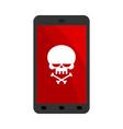 virus in smartphone cyber attack on phone skull vector image