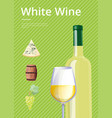 white wine with text on green vector image vector image