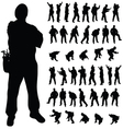 worker black silhouette in various poses vector image