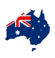 Australian flag on map vector image