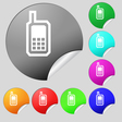 Mobile phone icon sign Set of eight multi colored vector image
