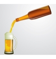 bottle with beer and mug vector image
