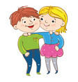 happy young girl and boy cartoon characters vector image
