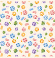 seamless pattern with summer beach vector image